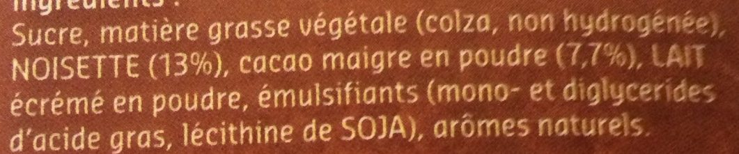 Pâte à tartiner fluide - Ingredienti - fr