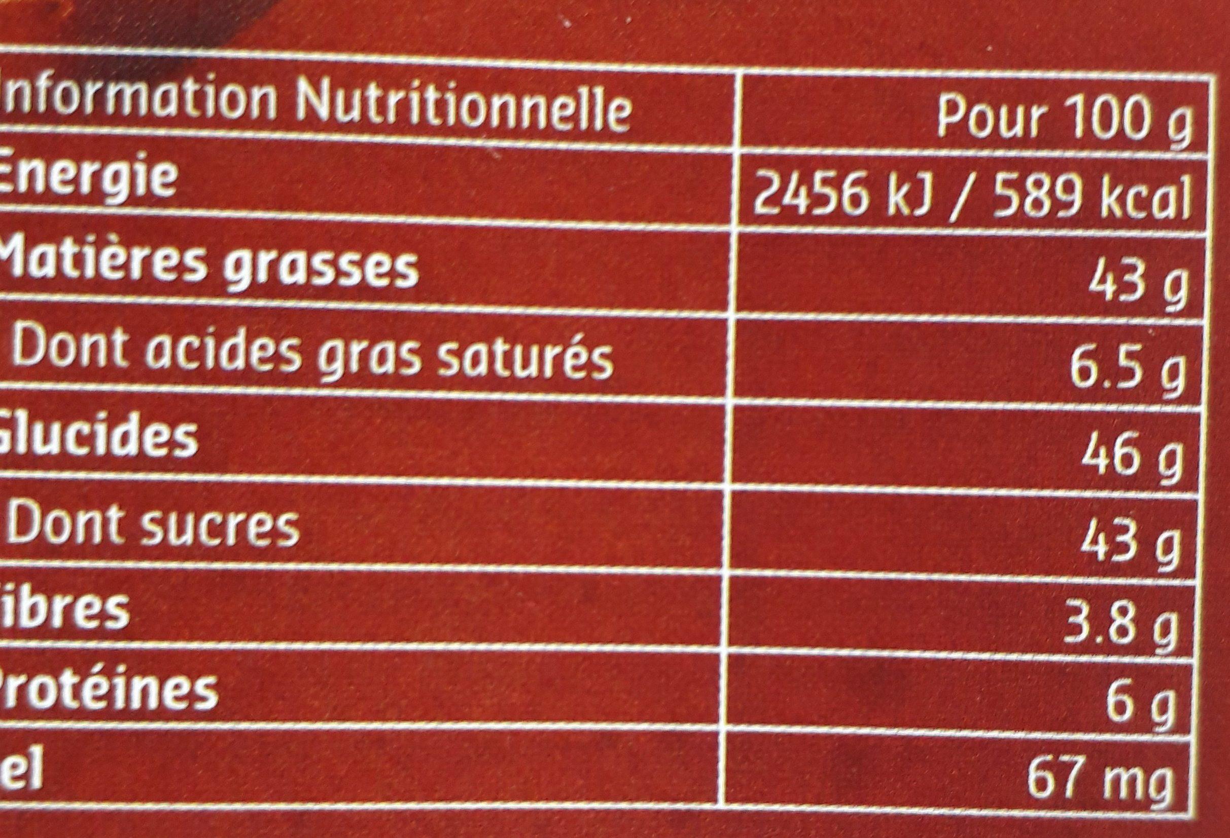 Pâte à tartiner fluide - Valori nutrizionali - fr