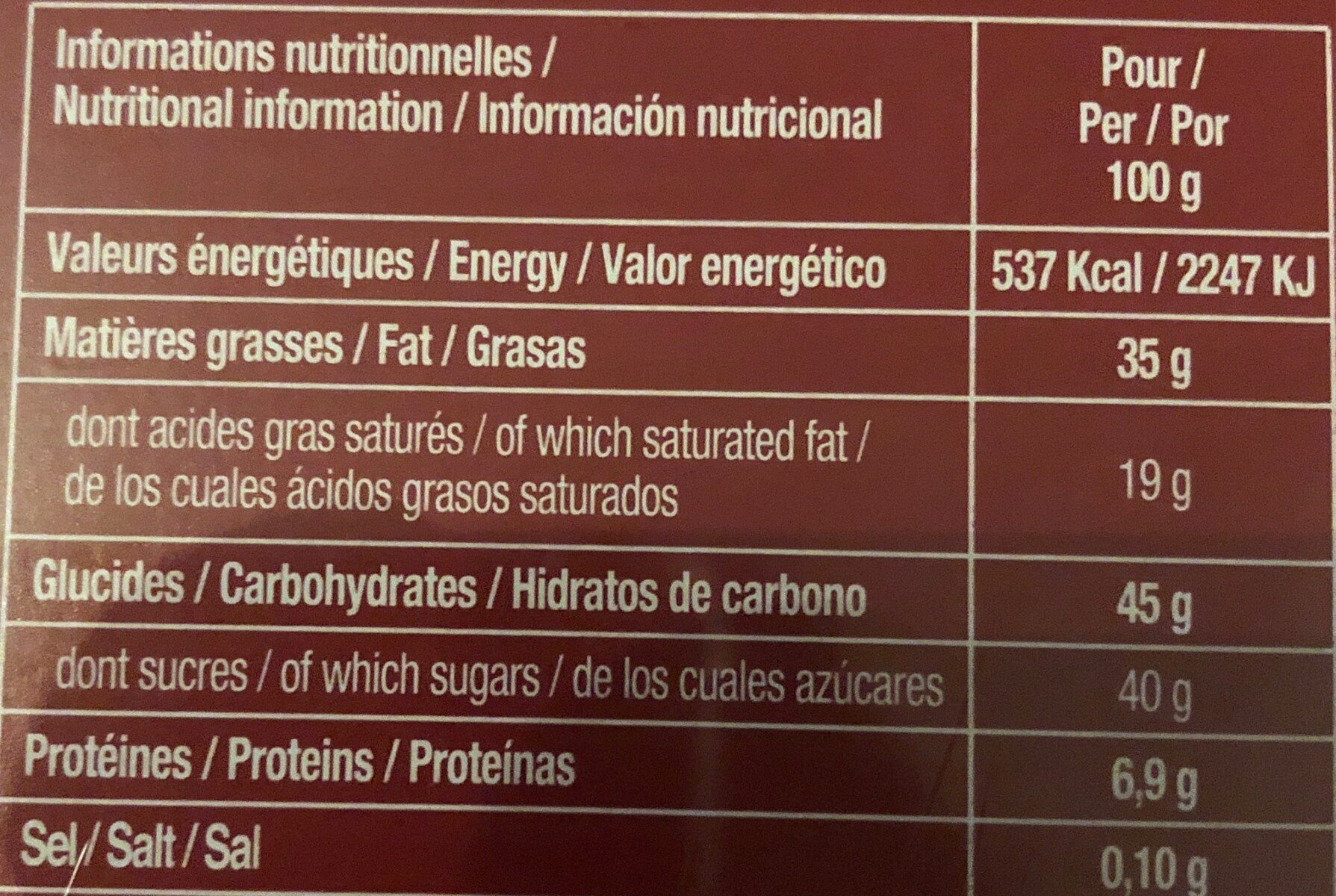 Chocolats assortis - Nutrition facts - fr