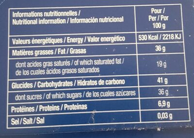 chocolats noirs - Nutrition facts - fr
