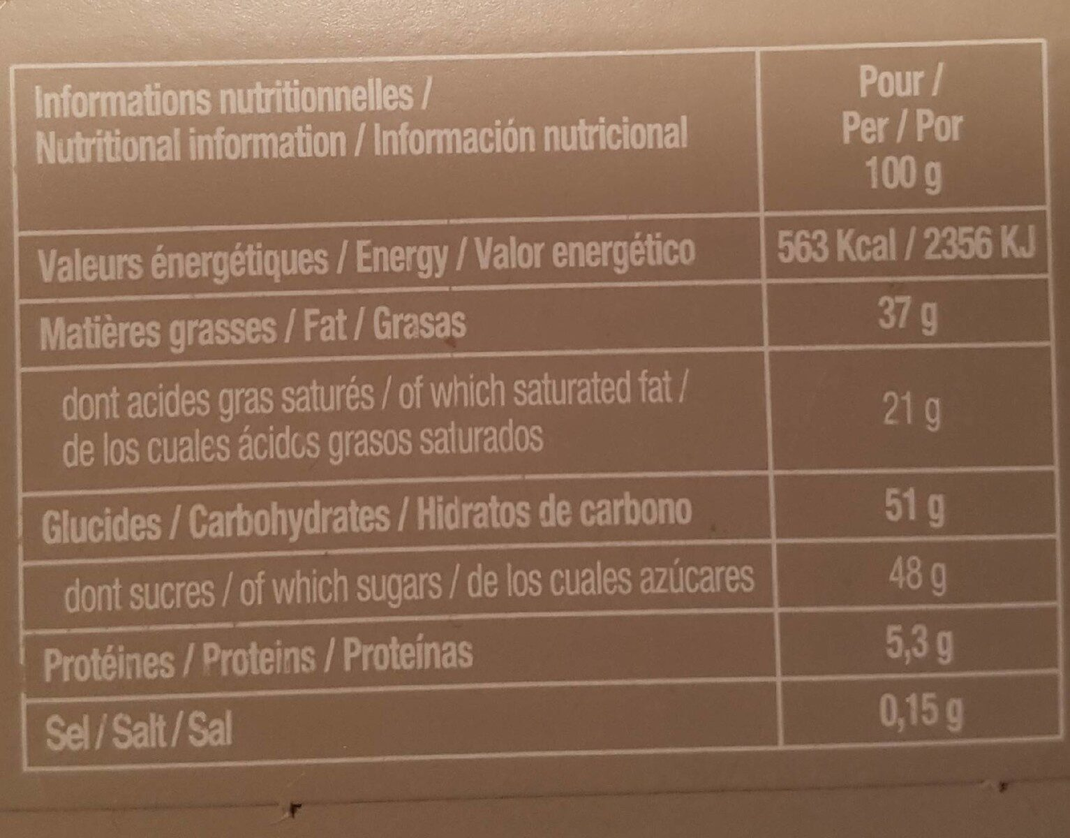 Assortiment chocolat blancs - Nutrition facts - fr