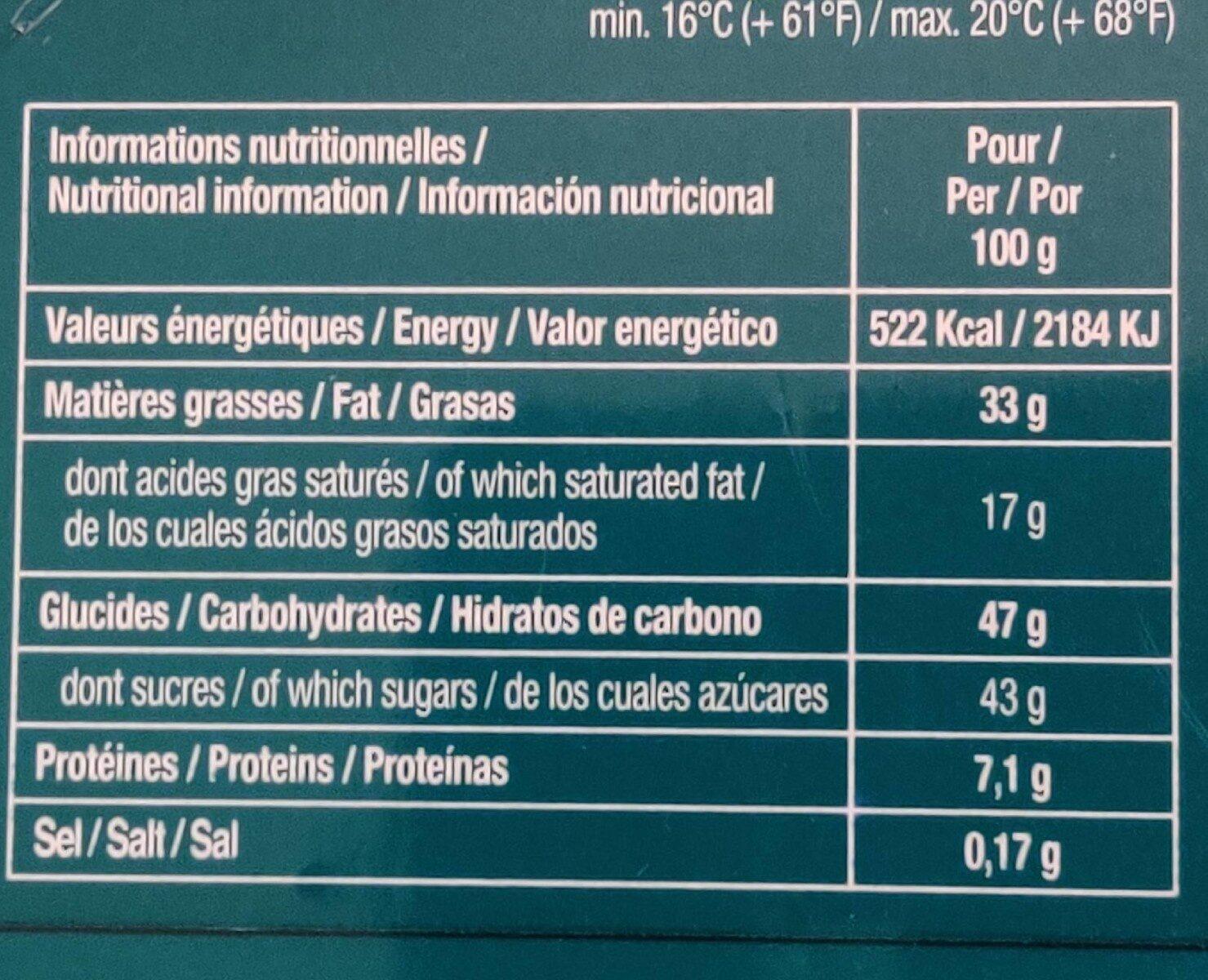 Pralines assorties en chocolat au lait - Nutrition facts - fr