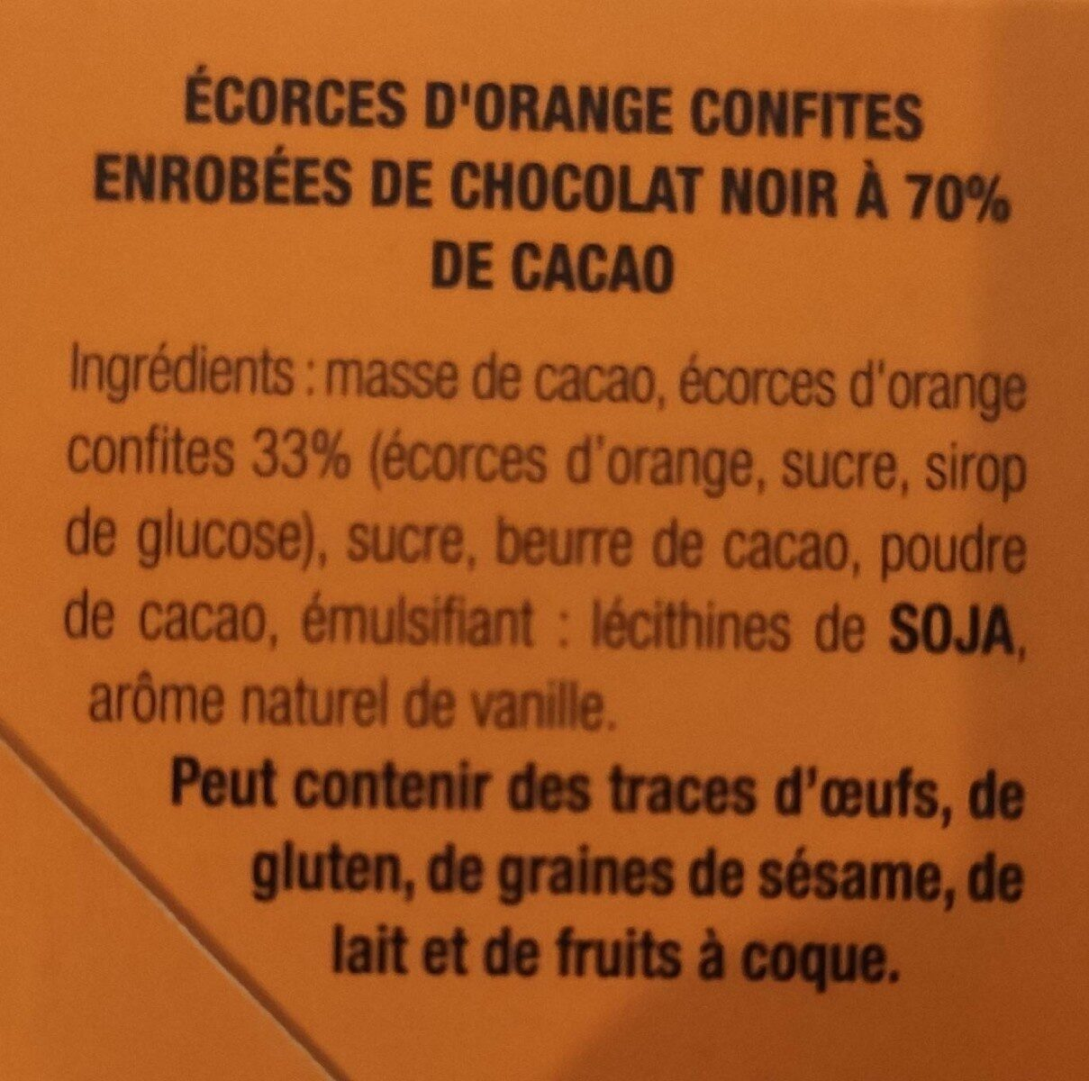 Orangettes - Nutrition facts - fr
