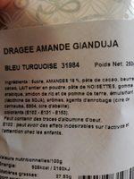 Dragées Amande Gianduja BLEU TURQUOISE - Ingredients - fr