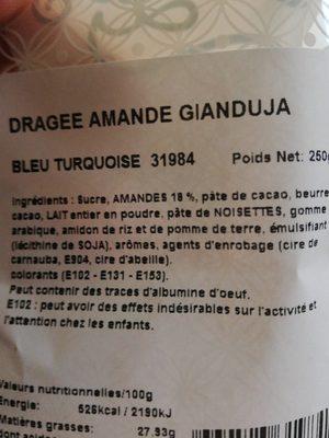 Dragées Amande Gianduja BLEU TURQUOISE - Ingredients