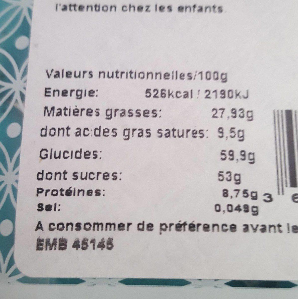 Dragées Amande Gianduja BLEU TURQUOISE - Nutrition facts - fr