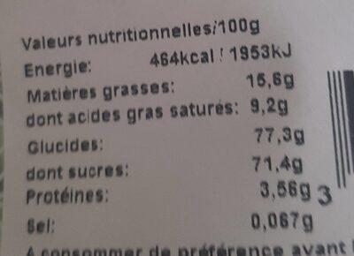 Dragées cœur pétale d'amour (vert tilleul) - Informations nutritionnelles - fr