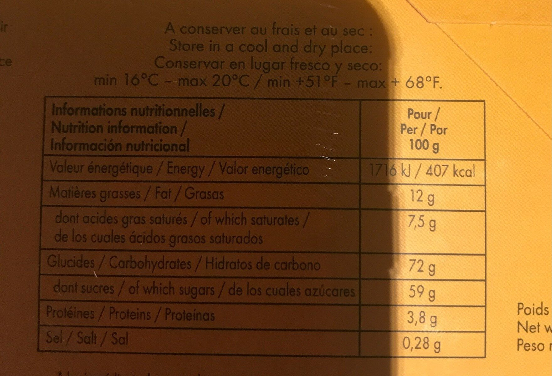 Choco'Mauved - Nutrition facts - fr