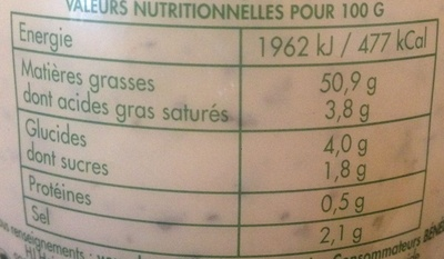 Sauce Béarnaise - Nutrition facts