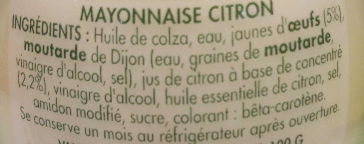 Mayonnaise citron - Ingredienti - fr