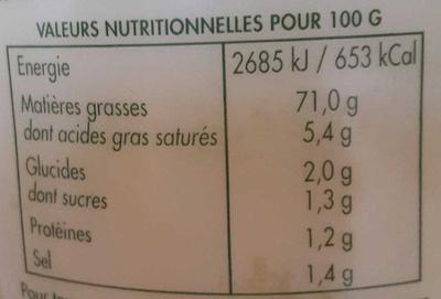Mayonnaise aux oeufs frais - Informations nutritionnelles
