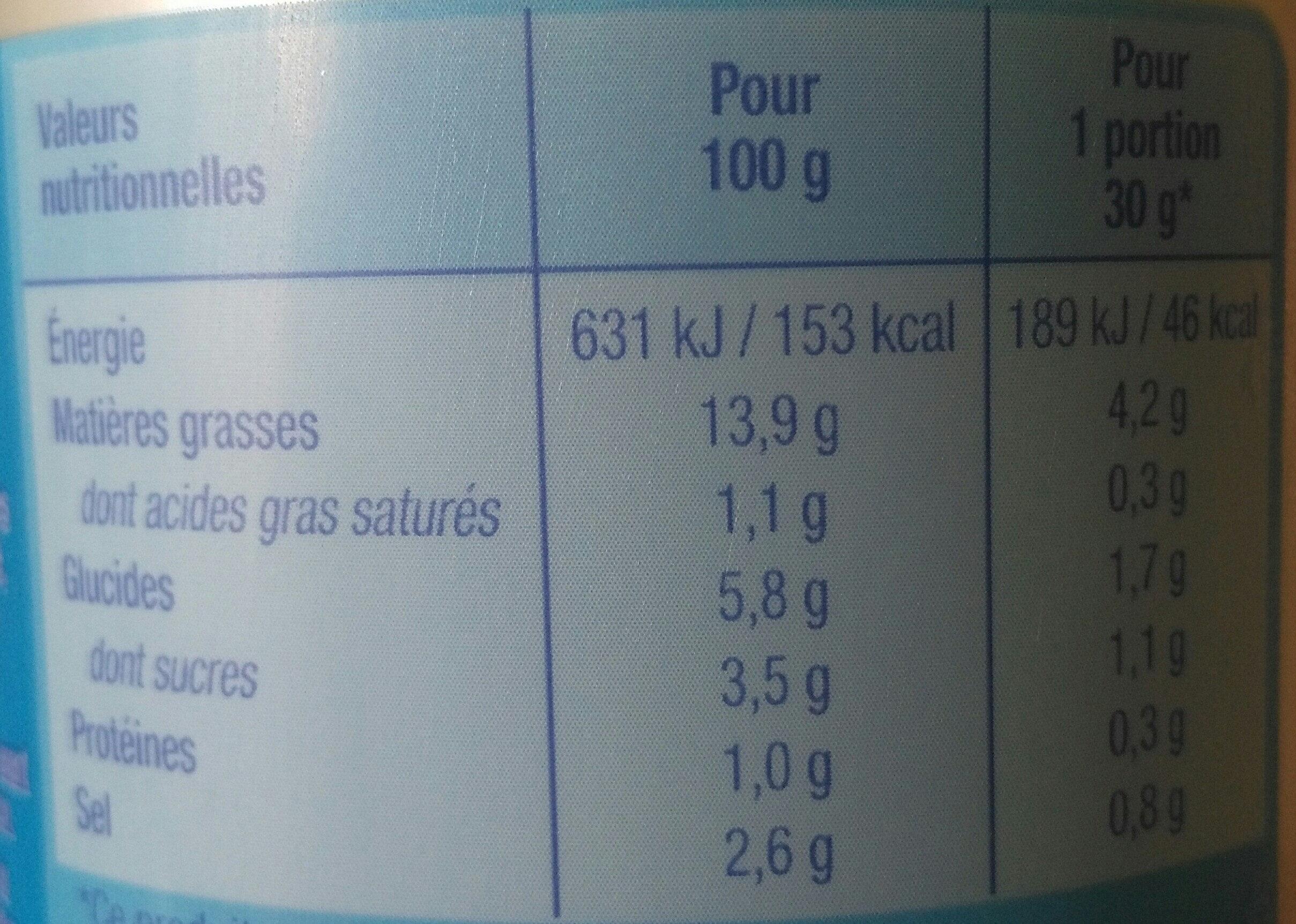 Sauce crudités nature légère - Valori nutrizionali - fr