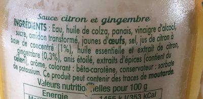 Sauce citron gingembre - Ingrédients
