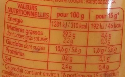 La sauce  Samouraï au goût pimenté - Valori nutrizionali - fr