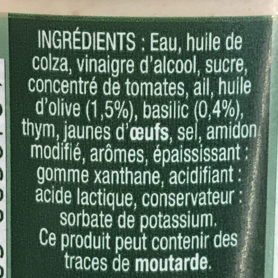 Sauce Crudités Huile d'olive & Basilic - Ingrediënten