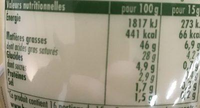 Mayonnaise La Veloutée - Voedingswaarden - fr