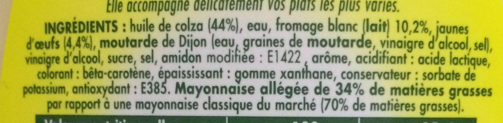 Mayonnaise légère La Veloutée - Ingredienti - fr