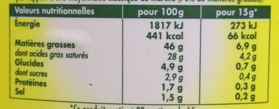 Mayonnaise légère La Veloutée - Valori nutrizionali - fr