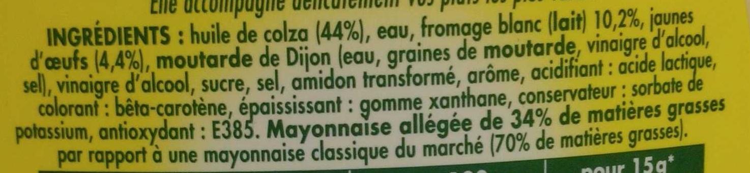 Mayonnaise légère La Veloutée au fromage blanc - Ingredienti - fr