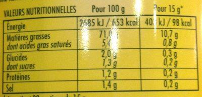 Mayo 255 g Bénédicta - Valori nutrizionali - fr