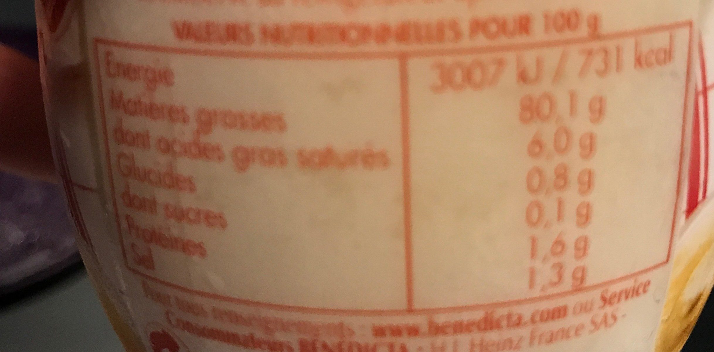 Mayonnaise Bénédicta comme à la maison - Valori nutrizionali - fr