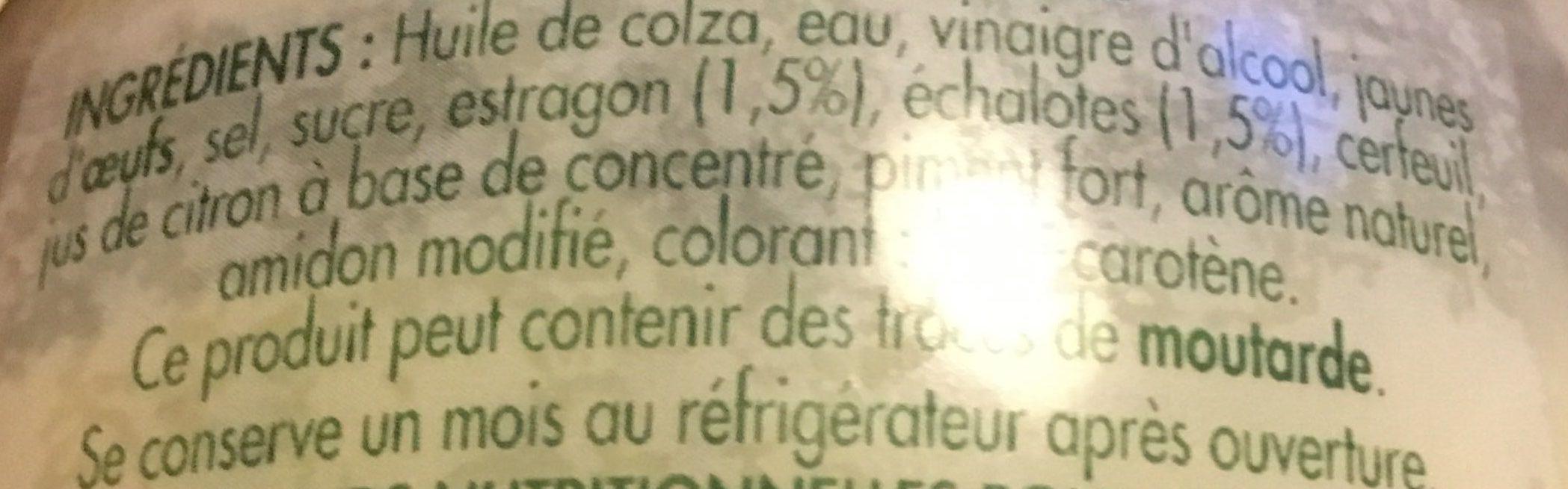 SAUCE BEARNAISE - Ingredienti - fr