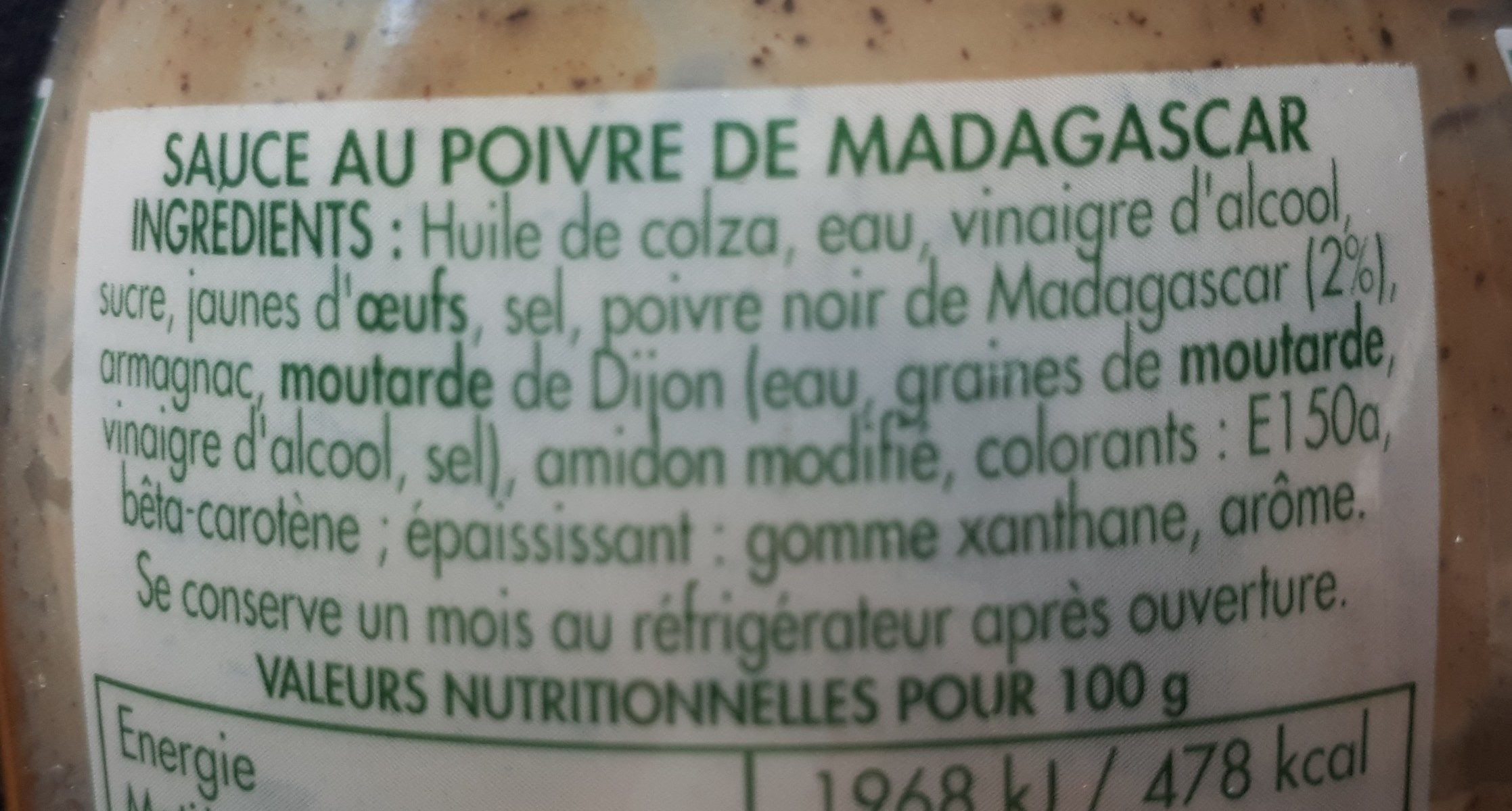 Sauce au poivre - Ingredienti - fr