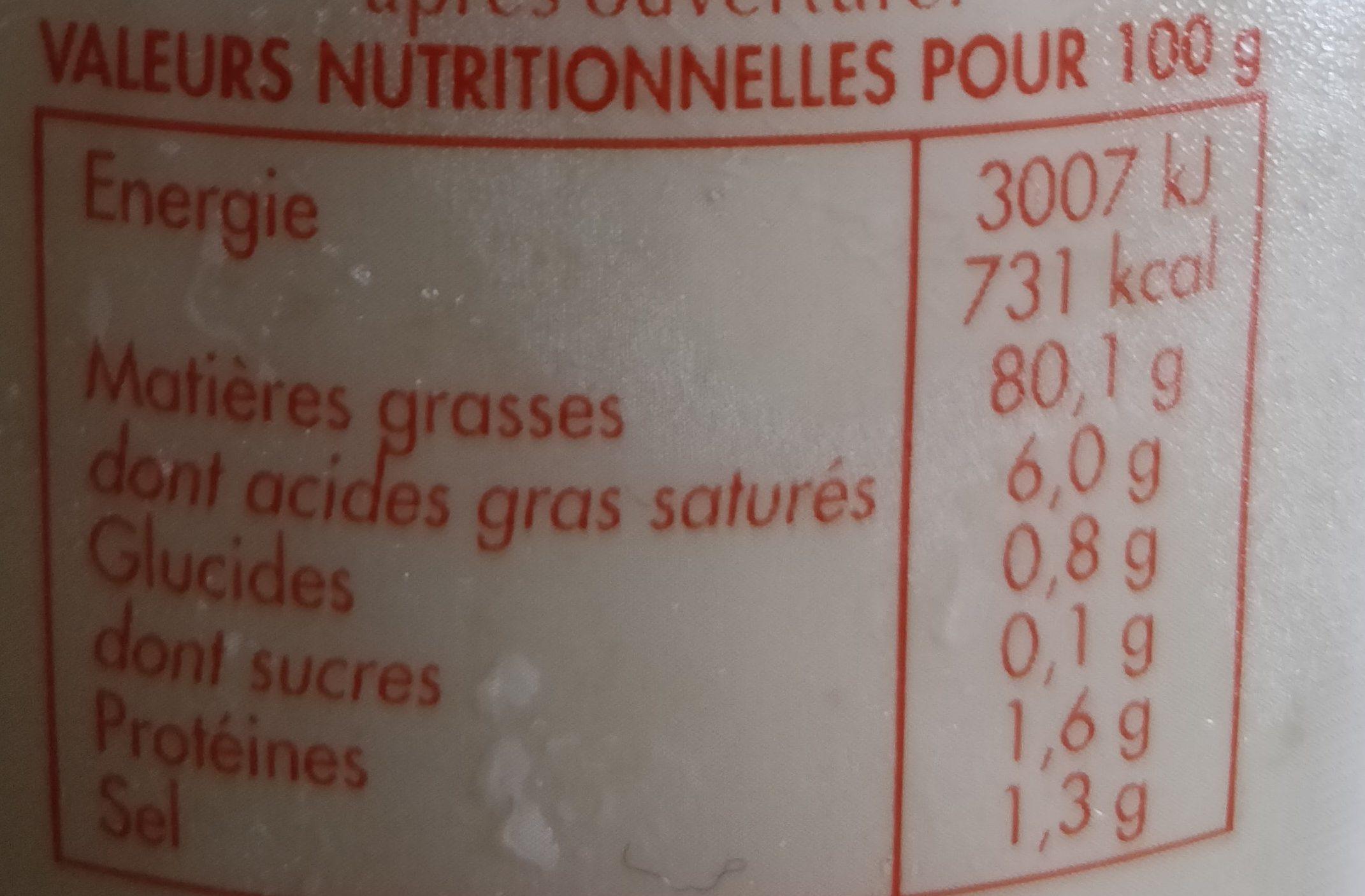 Mayo Maison 500 g Bénédicta - Valori nutrizionali - fr