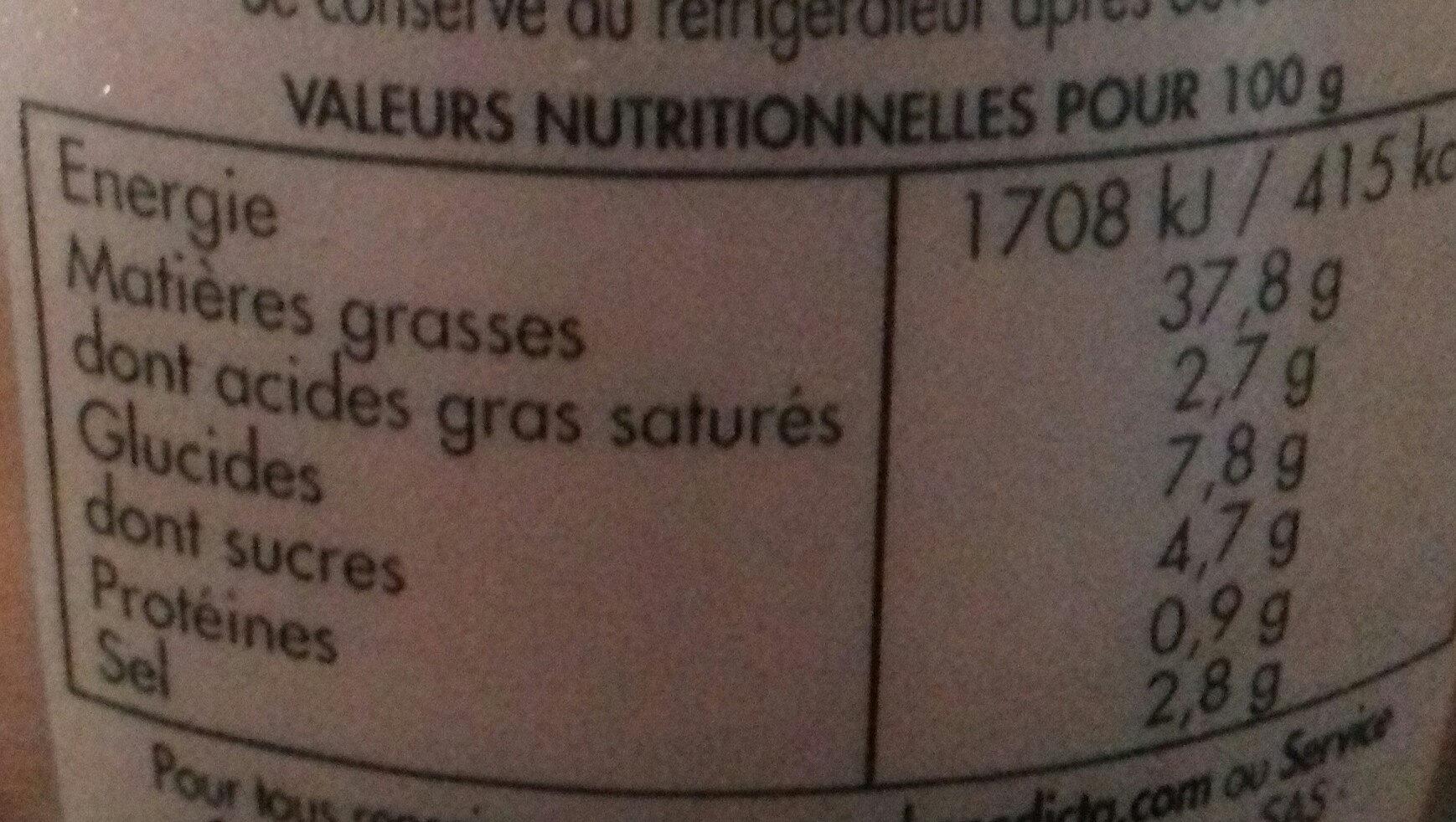 Sauce Américaine - Valori nutrizionali - fr