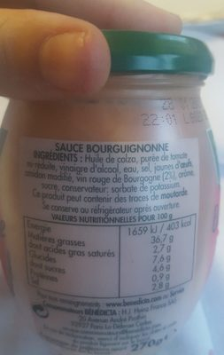 Sauce Bourguignonne - Ingrediënten - fr