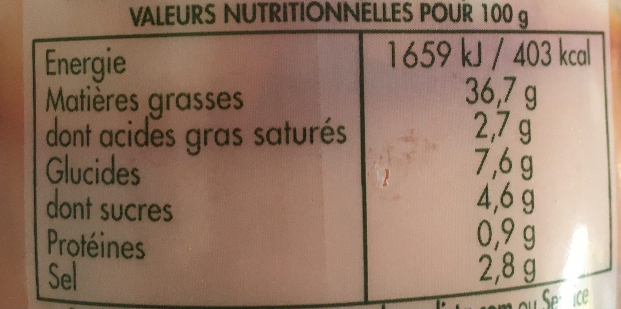 Sauce Bourguignonne - Voedingswaarden - fr