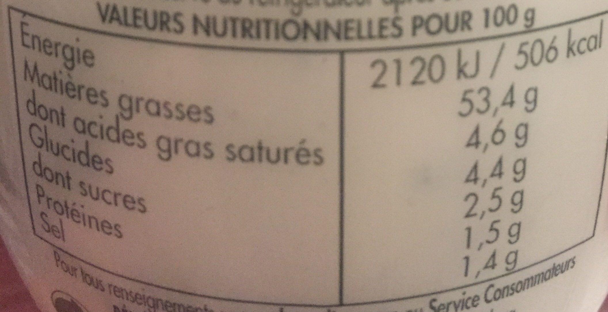 Bénédicta Sauce au bleu le pot de 260 g - Información nutricional