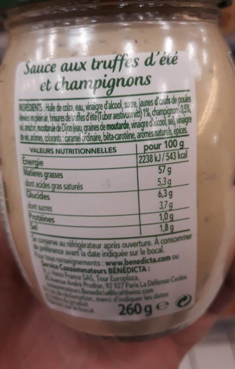 Sauce gourmet truffe d'été - Valori nutrizionali - fr