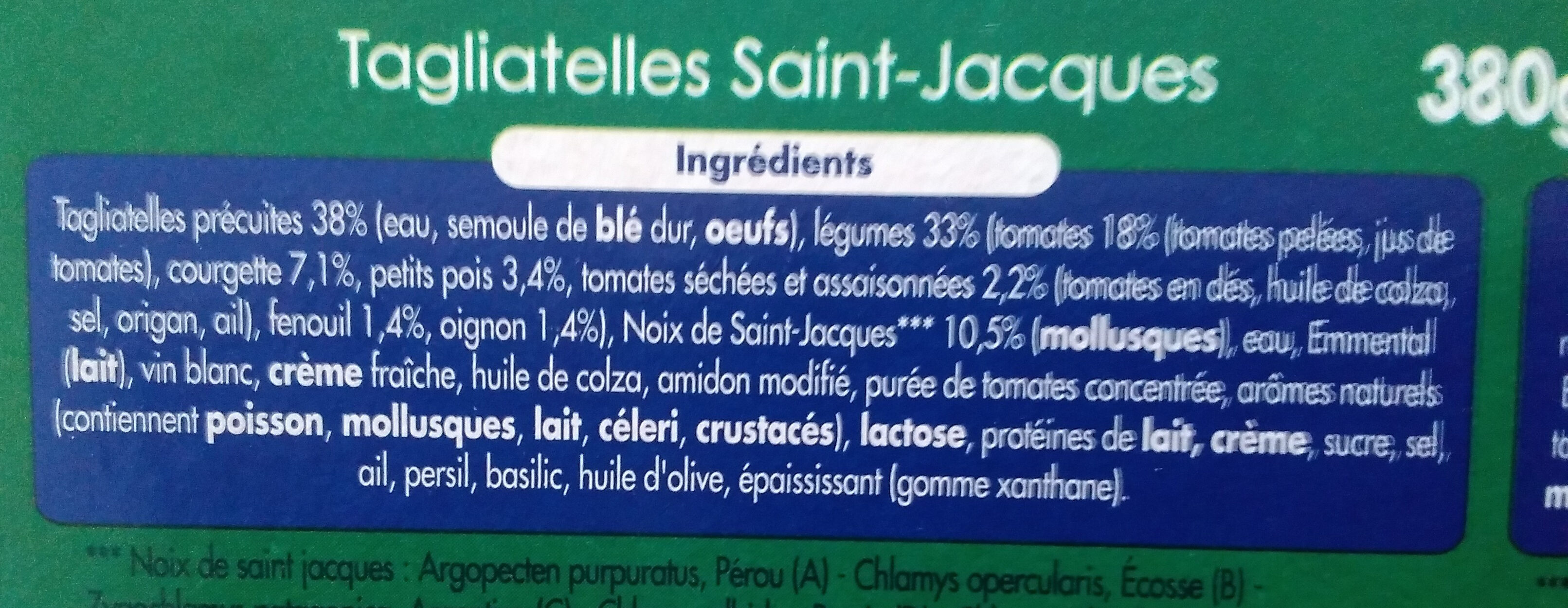 Tagliatelles saint jacques - Ingrediënten - fr
