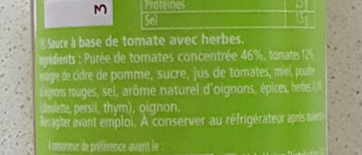HEINZ  Herbe aromatiques et tomates mûries  au soleil  KETCHUP - Ingredienti - fr
