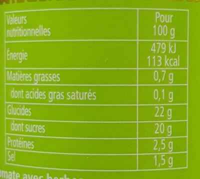 HEINZ  Herbe aromatiques et tomates mûries  au soleil  KETCHUP - Valori nutrizionali
