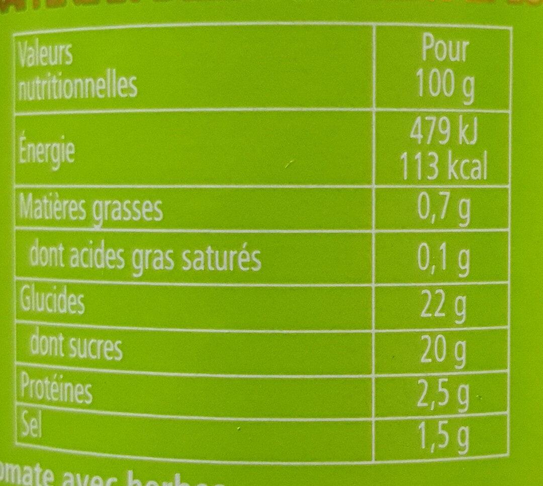 HEINZ  Herbe aromatiques et tomates mûries  au soleil  KETCHUP - Valori nutrizionali - fr