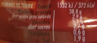 Sauce spéciale Pommes de terre - Valori nutrizionali - fr