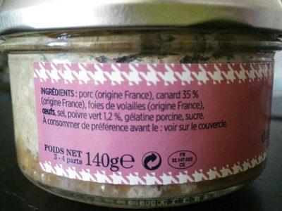 Terrine de Canard au poivre vert - Ingrediënten