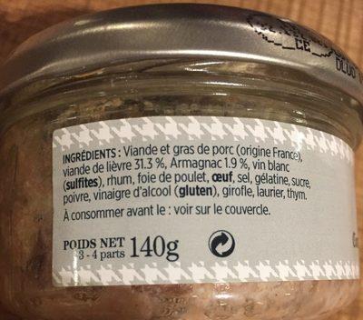 Terrine de lièvre - Ingrediënten