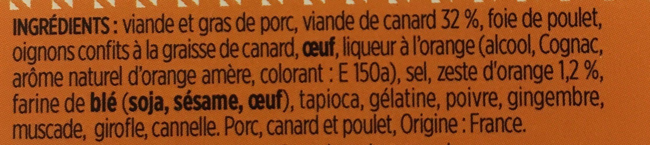 Terrine de canard à l'orange - Ingrediënten