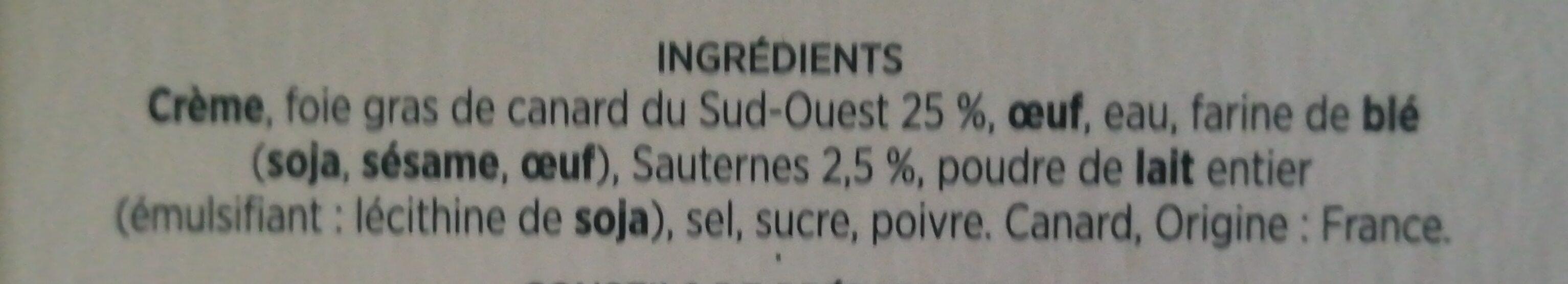 Soufflé au Foie de Canard et au Sauternes - Ingrédients