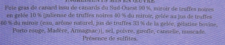 Foie gras de canard, miroir de truffes noires, mi-cuit - Ingrédients - fr