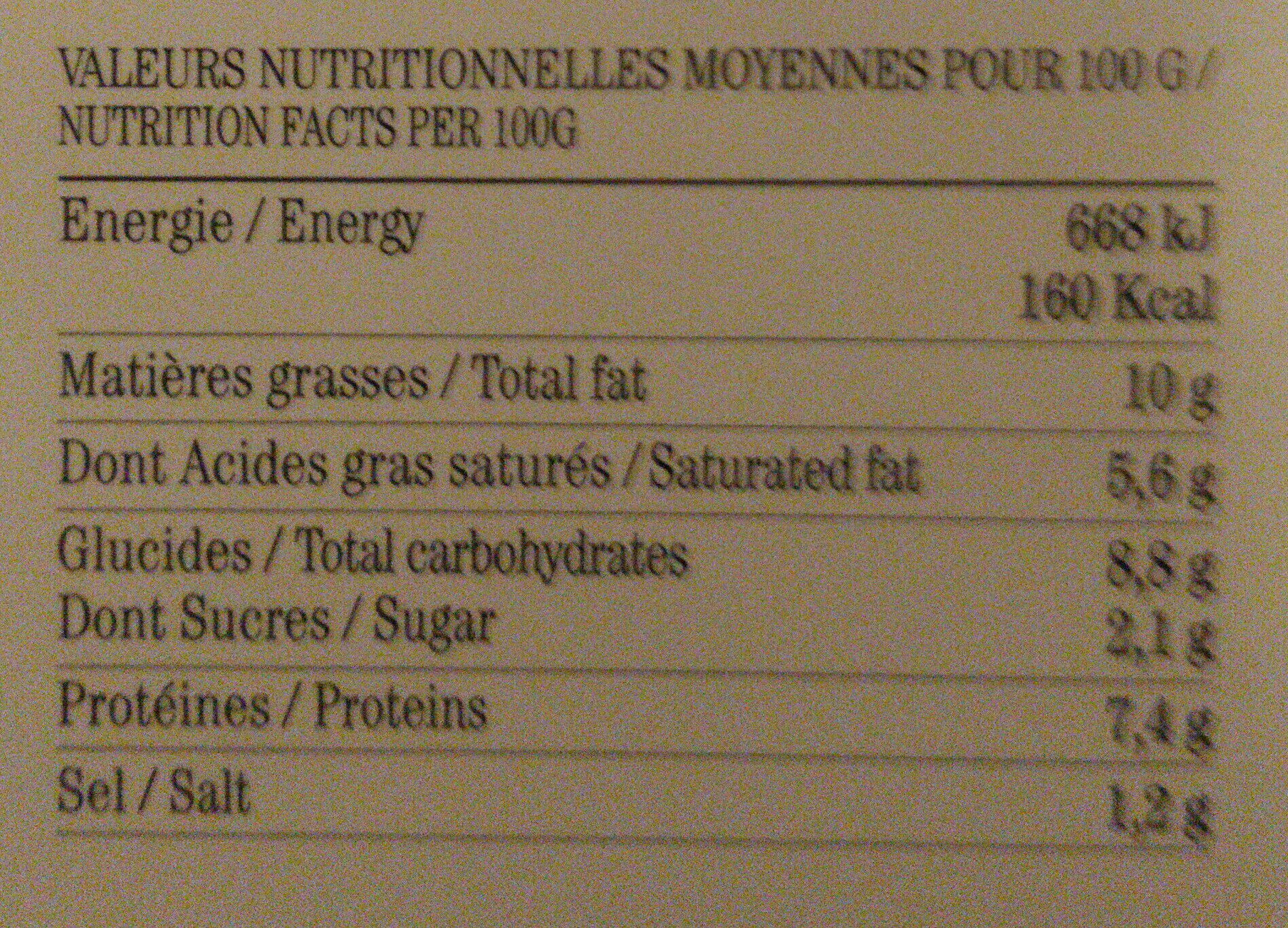 Le parmentier de canard - Informations nutritionnelles - fr
