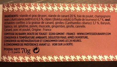 Terrine de canard forestière - Ingrédients