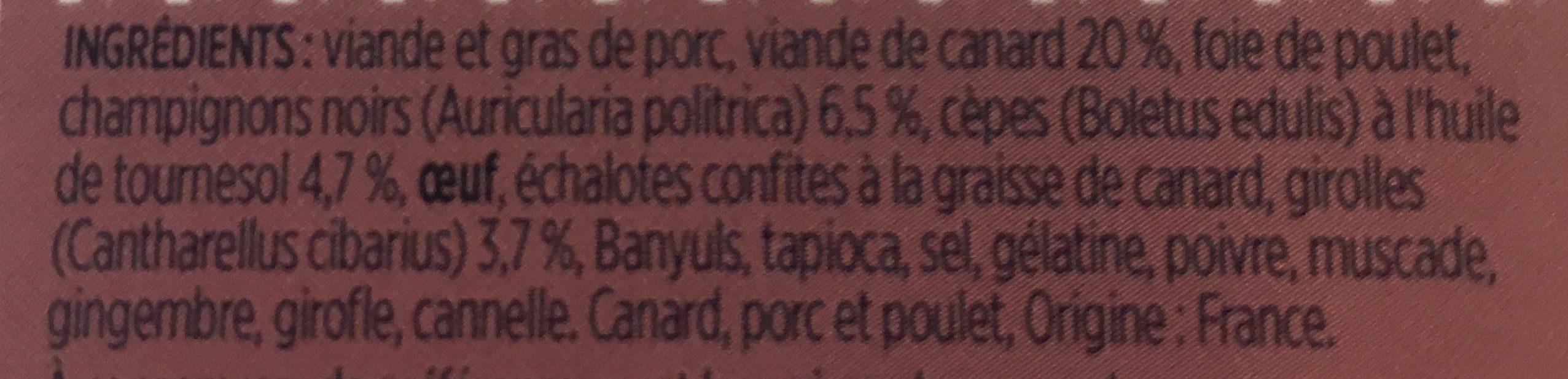 Terrine de canard forestière - Ingrediënten