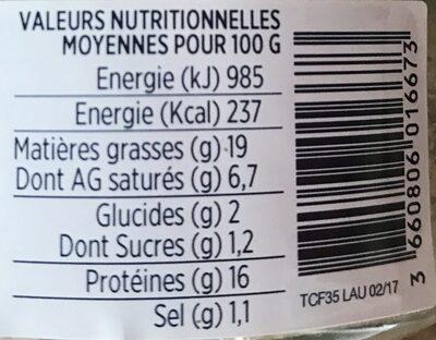 Terrine de canard forestière - Informations nutritionnelles - fr