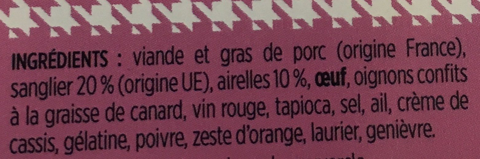 Terrine de sanglier aux airelles - Ingrediënten