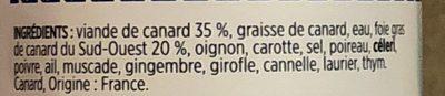Rillettes de canard au foie de canard - Ingrédients - fr