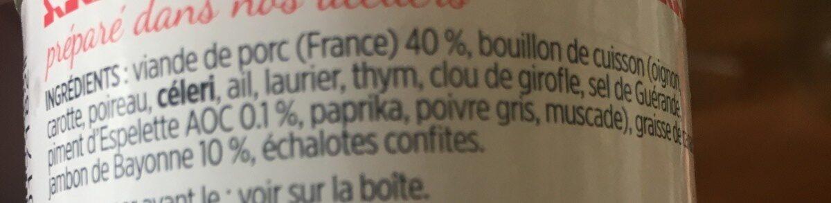 Rillette de porc au piment d'espelette et jambon de bayonne - Ingrédients - fr